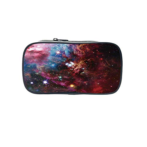 Customizable Pen Bag,Space Decorations,Space Nebula with Star Cluster in The Cosmos Universe Galaxy Solar Celestial Zone,Teal Red Pink,for Kids,3D Print Design by iPrint