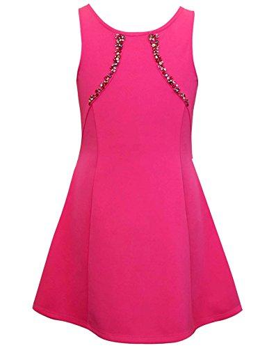 Hannah Banana Big Girls Tween Embellished Party Dress, 7-16 (10, Hot (Fancy Dress Banana)
