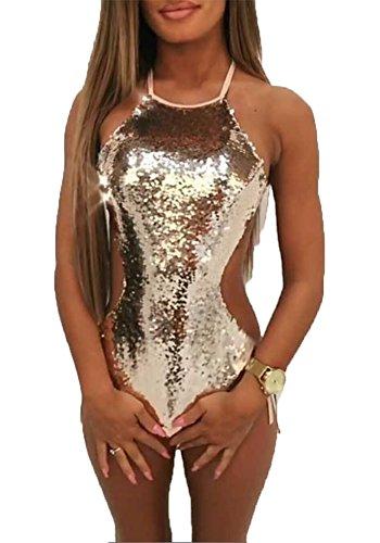 Womens Sexy Sequins One-Piece Halter Swimsuit Bathing Suit Push-up Bikini Set (Gold, -