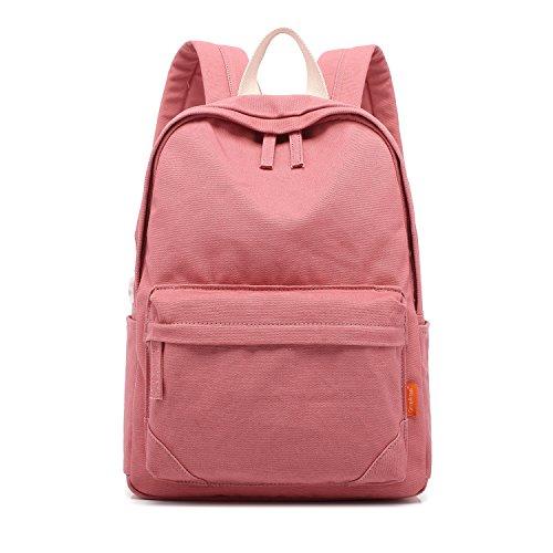 Tom Clovers Canvas Backpack Rucksack Weekender Bag Laptop Bag School Backpack Pink by Tom Clovers