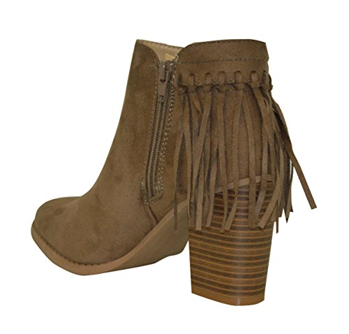 Zip Tassel Boot Heel Ladies New Ankle Cuban Taupe Suede Side Fringe Fashion qTwqzZYx