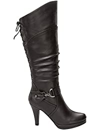 Women's Knee Lace-up High Heel Boots