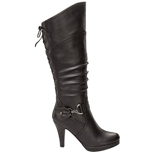 Toe Top Knee Heel Up Slouched Moda Black 65 High Lace Boots High Womens Page Round H0prqHTw