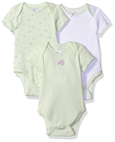 Little Me Baby Girls' 3 Pack Bodysuit, Green/Multi, Newborn