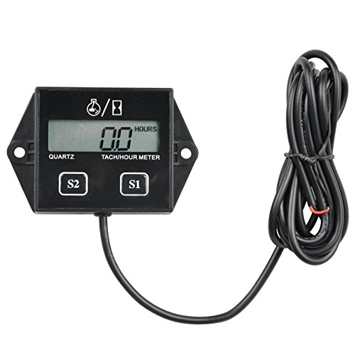 Runleader HM011A Self Powered Engine Digital Maintenance Tachometer Hour Meter (BATTERY REPLACEABLE) for Lawn Mower Generator Dirtbike Motorcycle Outboard Marine Paramotors Snowmobile and Chainsaws ()