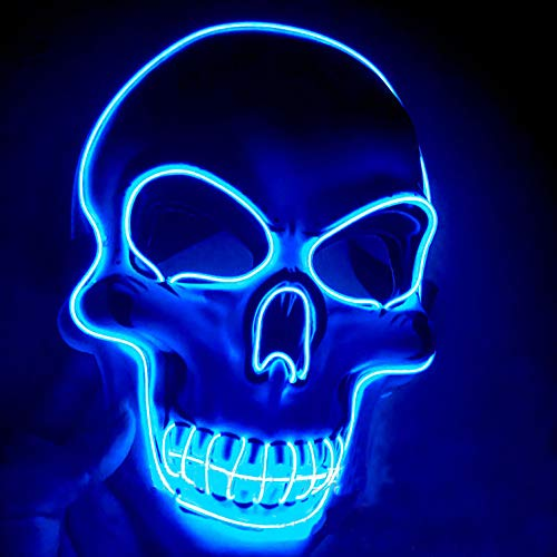 Halloween LED Light up Mask Costumes Mask Blue LED Glow Scary Mask with 3 Flash Modes for Halloween Glow in the Dark Party Supplies Party Favor