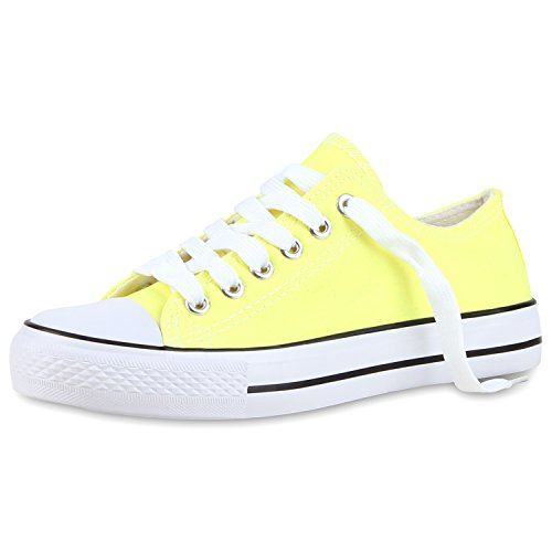 Japado Bequeme Unisex Sneakers Low-Cut Modell Basic Freizeit Schuhe Viele Farben Gr. 36-45 Hellgelb