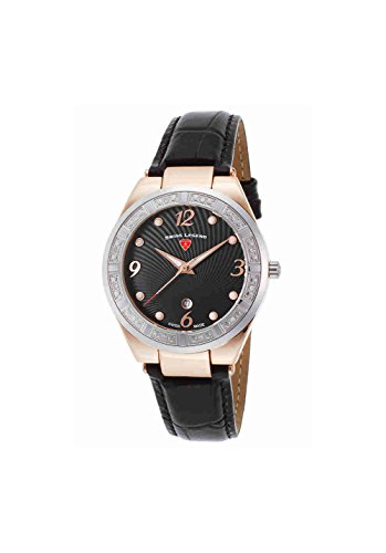 Swiss Legend Women's 'Passionata' Quartz Stainless Steel and Leather Watch, Color:Black (Model: 10220SM-RG-01-SB)