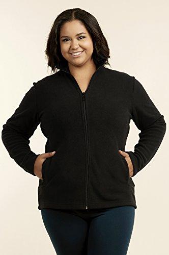 Fleece Jersey Jacket (Sofra Teejoy Women's Polar Fleece Jacket Plus Size (2XL, Black))
