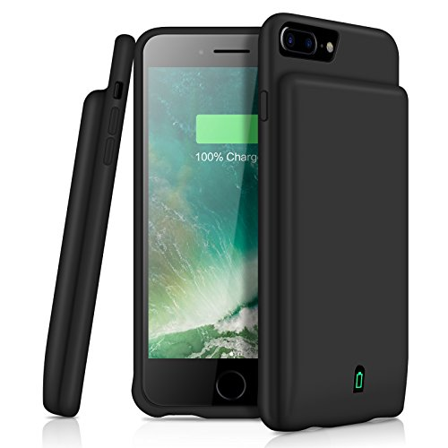 iPhone 8 Plus/7 Plus/6 Plus Battery Case YISHDA 7000mAh Rechargeable Extended Battery Backup Power Bank Protective Charger Case Cover for iPhone 8 Plus 7 Plus 6S/6 Plus 5.5 inch Support Headphones