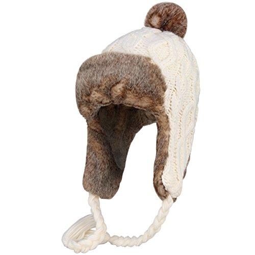 OMECHY Womens Knit Peruvian Beanie Hat Winter Warm Wool Crochet Tassel Peru Ski Hat Cap with Earflap Pom,White