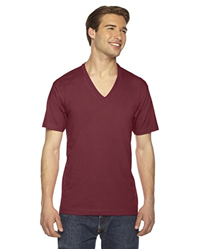 American Apparel Unisex Fine Jersey Short-Sleeve V-Neck T-Shirt - Cranberry - - Neck Mens Big And Tall V Clothing