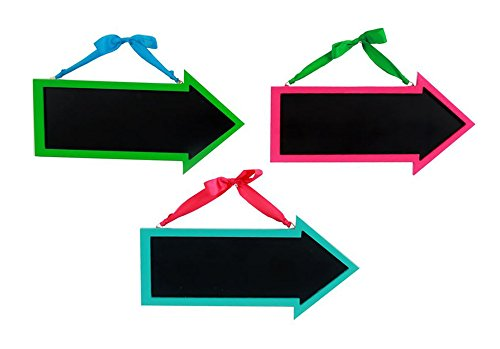 Set of 3 Arrow Shaped Wood Framed Chalkboard 15-inch Hanging Signs and Pink Dennis East Blue in Green
