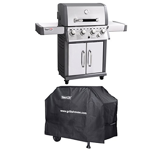 Royal Gourmet Mirage Stainless Steel 4-Burner Propane Gas Grill with Side Burner + Cover Royal Gourmet Corp