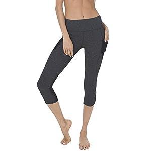 "Queenie Ke Women 22"" Yoga Capris Power Flex Height Waist 3 Phone Pocket Running Pants Trousers Workout Tights Legging - Tummy Control Size L Color Dark Charcoal Space Dye"