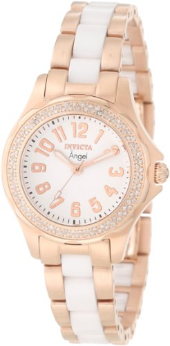 Invicta Women's 1781 Angel White Dial 18K Rose Gold Ion-Plated Stainless Steel Watch