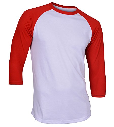 Dream USA Men's Casual 3/4 Sleeve Baseball Tshirt Raglan Jersey Shirt White/Red 2XL (Raglan Red)