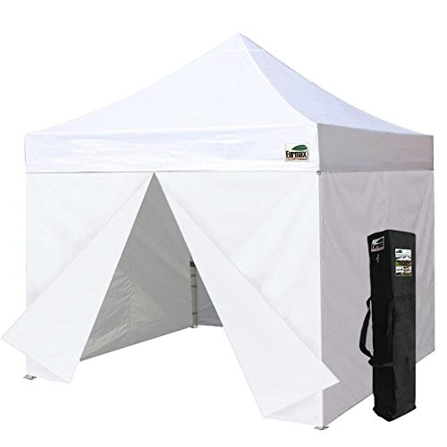 Eurmax White 10x10 Ez Pop up 4 Wall Canopy Party Tent with Side Walls and Carry Bag