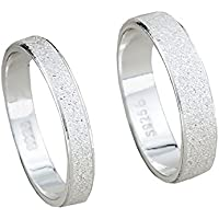 Tidoo Jewelry Frosted Couple Rings Real 925 Sterling Silver Wedding Set Rings for Women and Men 1 Pair Engagement Rings Set Jewelry