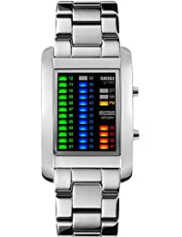 Gosasa Men's Binary Matrix Blue LED Digital Waterproof Watch Creative Stainless Steel Military Watches (Silver)