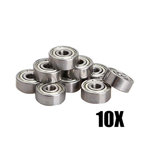 Huscus 10PCS Miniature Radial Ball Bearings 3x10x4mm 623ZZ for RC Car Practical CLH@8 - (Diameter: 3mm)