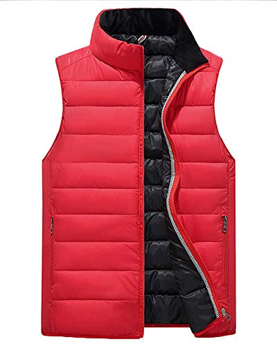 Gilets Quilted Cardigan Gilet Thicken Sleeveless Down Red Coat Vest Jacket Liangzhu Casual Mens Top Bodywarmer Padded Zipper zTqcOg