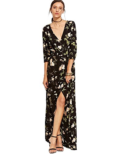- Milumia Women's Button Up Split Floral Print Flowy Party Maxi Dress Large Black-Green