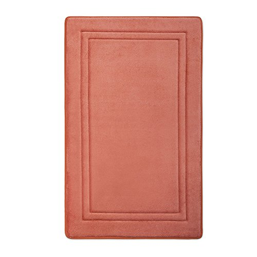 Microdry 10888 Quick Drying Memory Foam Bath mat with GripTex skid-resistant base, 21 x 34, Coral