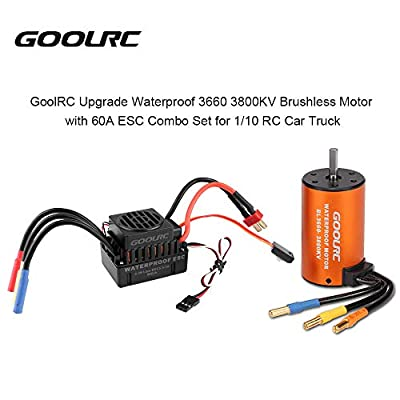 GoolRC Waterproof Brushless Motor 3660 3800KV, 60A ESC Combo Set for 1/10 RC Car Truck: Toys & Games