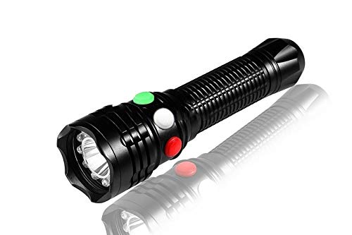 WindFire Cree Q5 Led Lamp 350LM Flashlight Torch 7 Modes Lighting Torch 3 Colors (White/RED/Green Light) with 3 Switches Emergency Railway Signal Working Flashlight for Camping, Hunting (No Battery)