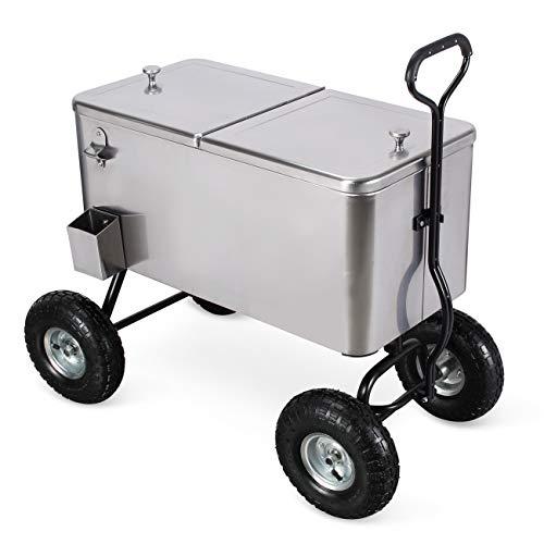 (Belleze 80 Qt Portable Rolling 10' All Terrain Wheels Outdoor Backyard Party Beach Drink Cooler Wagon, Stainless Steel)