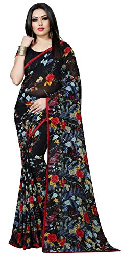 Women's Faux Georgette Floral Print Saree 6.30 m With Blouse Piece by Kalaa Varsha (Free Size, Black ()