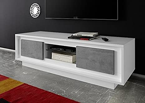 Mobile Tv Moderno Bianco : Arredocasagmb mobile porta tv moderno bianco opaco ante effetto