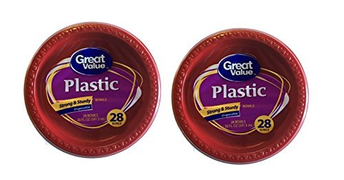 Great Value 20 fl oz Plastic Red Bowls (2 Pack) 28 Ct Each