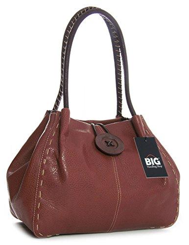 Trendy bolso con gran detalle, bandolera de piel sintética Copper Brown (BH365)
