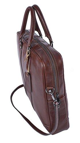 Big bolso Shop para hombre maletín de piel auténtica asa superior bolso bandolera café