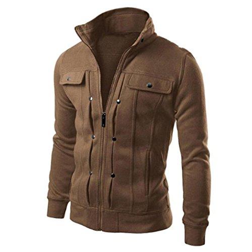 Jacket Lapel Cardigan Fashion Designed Cotton Mens BHYDRY Solid Coffee Coat Tops Slim wApR8q