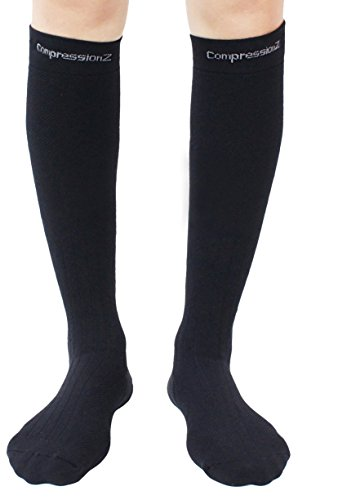 CompressionZ Thermal Lightweight OTC Performance Ski Socks (Graduated 20-30mmHg) - Black L