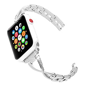 Apple Watch Band 38mm 42mm Women,Stainless Steel Metal Replacement Bling Strap X-Link Compatible iwatch Apple Watch Series 3, Series 2, Series 1, ...