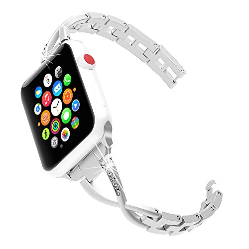 Hyfanda Compatible Apple Watch Band 38mm 42mm Women Stainless Steel Metal Replacement Strap X-Link iwatch Apple Watch Series 3,2,1,Nike+, Sport, Edition,Silver, Rosegold (Sliver, 38mm)