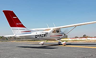 """FMS Sky Trainer 182 RC Airplane 5CH 1400mm (55.5"""") Wingspan AT Red With Flaps LED PNP"""