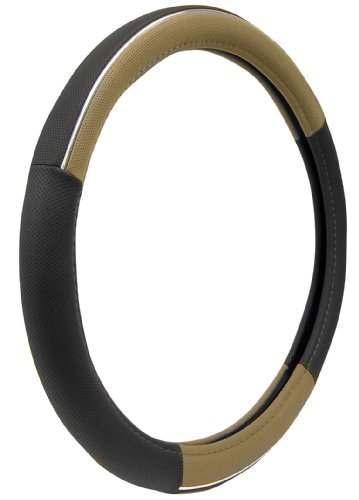 Custom Accessories 38859P Black/Tan with Chrome Accent Molded Steering Wheel Cover