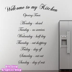 1stop graphics shop welcome to my kitchen wall art quote sticker kitchen dining room love decal colour black size medium amazoncouk kitchen - Kitchen Wall Art