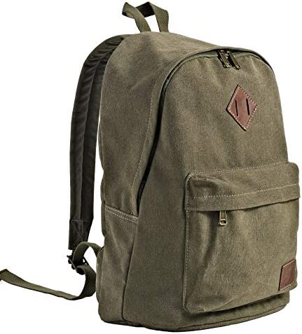 Backpack for Men, Backpack Canvas, Daypack, Rucksack, Weekend Vocation Bag, Outdoor Traveling College Teenage Laptop Girls Boys Military Green