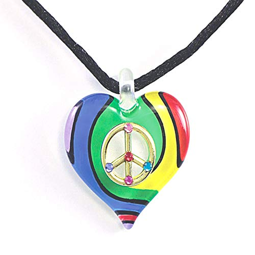 Heart Sign Peace Necklace (Glass Baron Peace Sign Heart Necklace)