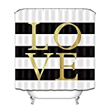 Black and White Striped Shower Curtain LB Gold Love Shower Curtain,Classic Design Black and White Striped Shower Curtain Waterproof Mildew Resistant Fabric Bathroom Decor 72x72 Inch with Hooks
