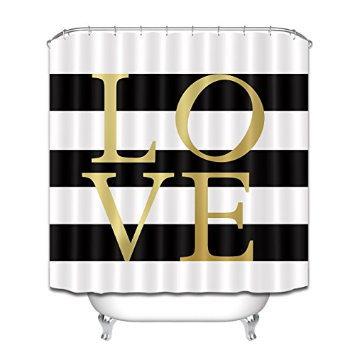 LB Gold Love Shower Curtain,Classic Design Black and White Striped Shower Curtain Waterproof Fabric Bathroom Decor 72x72 Inch with Hooks ()