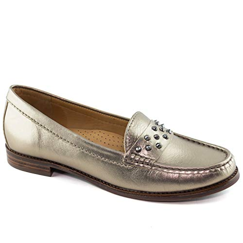 Driver Club USA Women's Genuine Leather Made in Brazil Lousville Fashion Gipsy Chrome Loafer 7.5