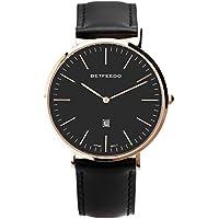 BETFEEDO Men's Ultra-Thin Quartz Analog Date Wrist Watch with Black Leather Strap (BLACK/BLACK)