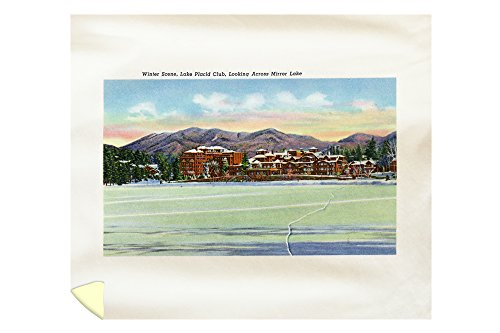 Lake Placid, New York - Mirror Lake View of the Lake Placid Club in Winter (88x104 King Microfiber Duvet Cover) by Lantern Press